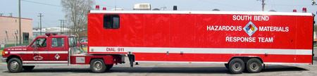 South Bend Hazardous Materials Response Team red trailer and truck
