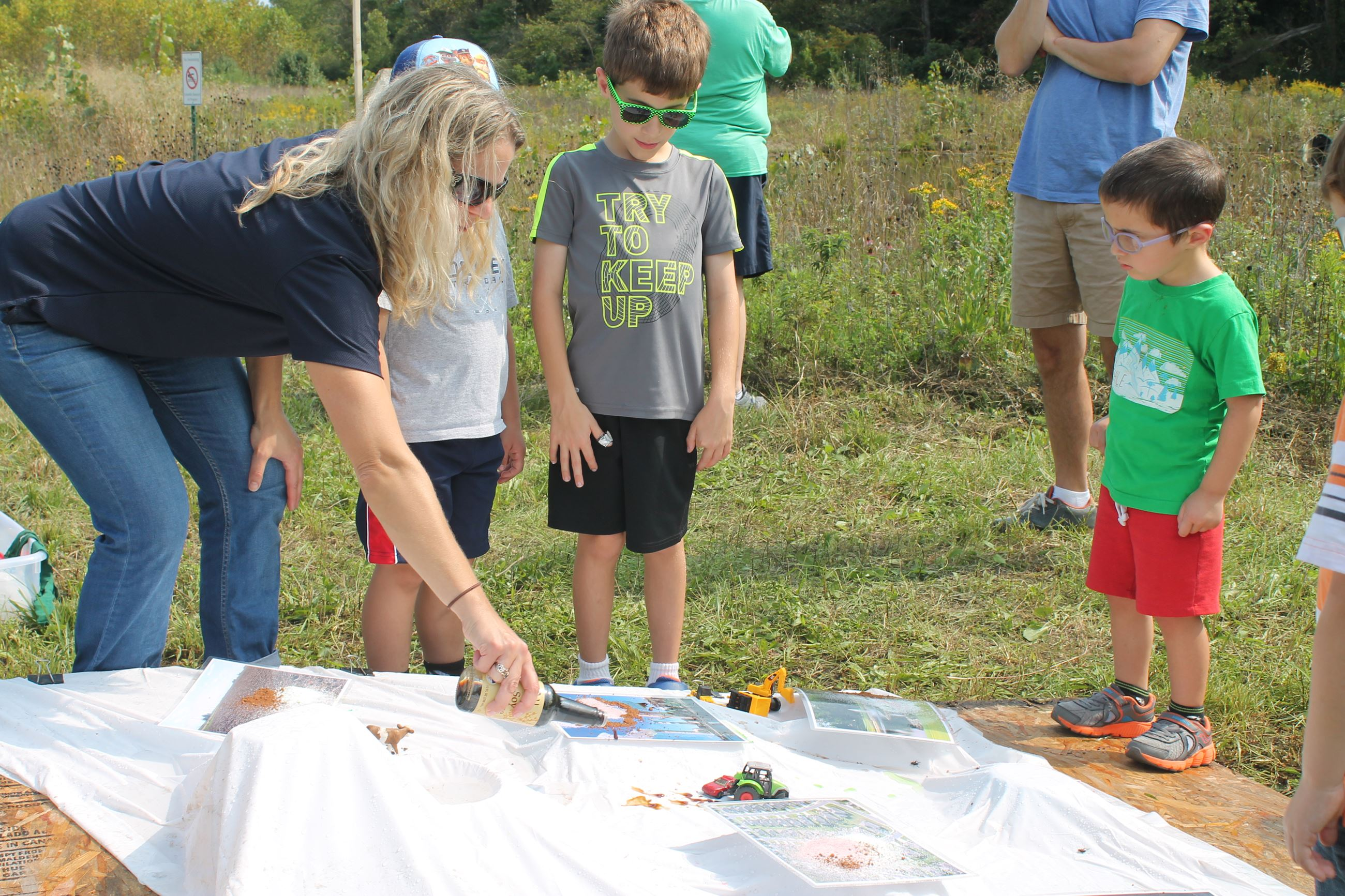 Kids test a watershed model