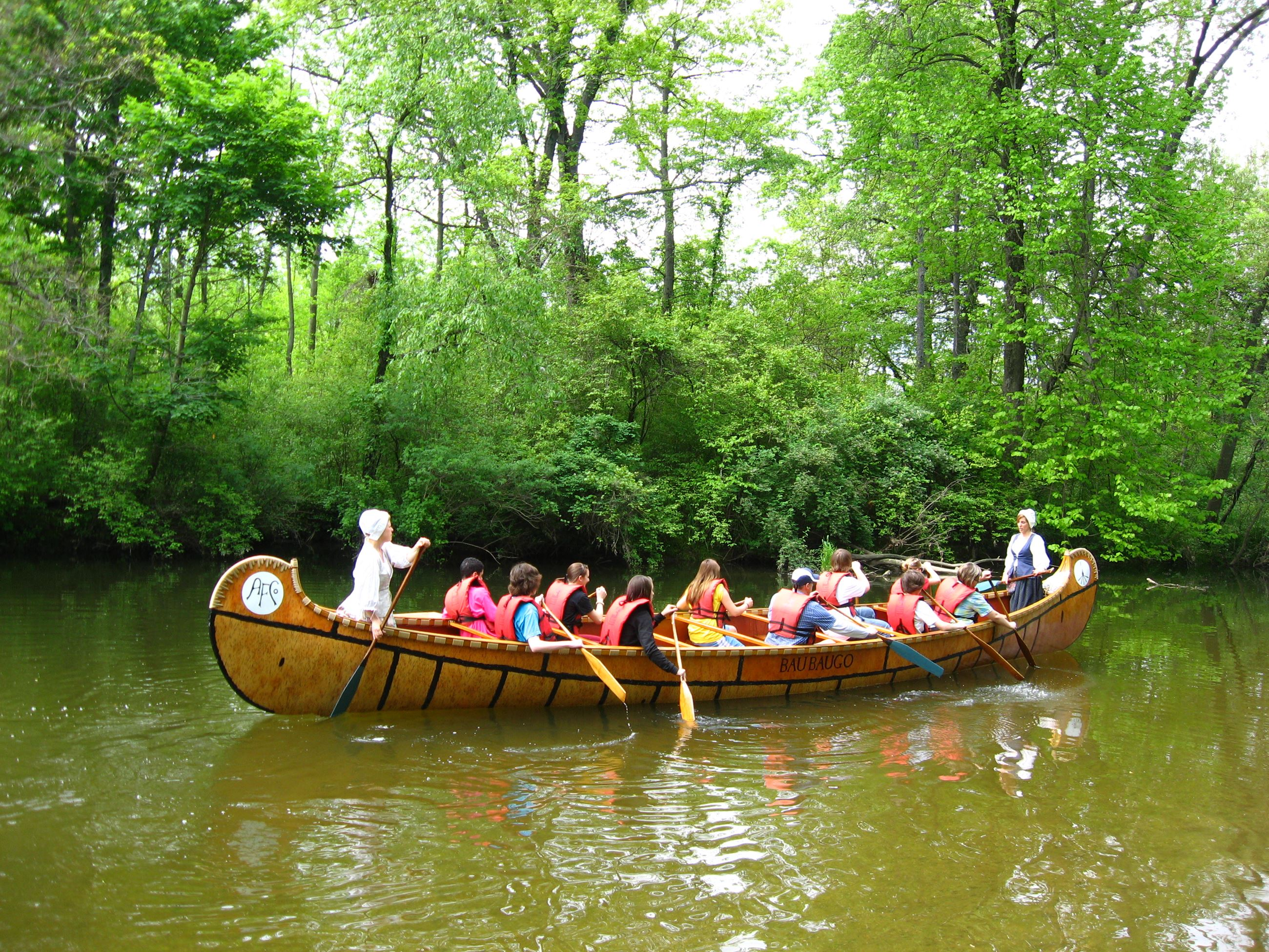 voyageur canoe on the creek