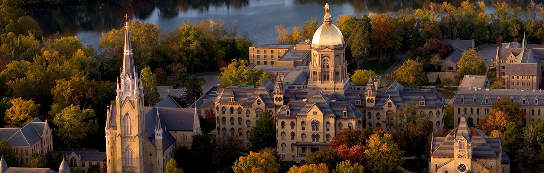 Aerial view of the campus of the University of Notre Dame