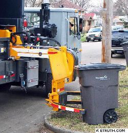 Truck completing a Bin Automated Pickup
